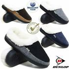 DUNLOP MENS SLIPPERS WINTER WARM FUR COSY MEMORY FOAM INDOOR SLIP ON SHOES SIZE