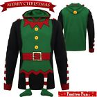 Mens Christmas 3D Novelty Funny Elf Body Hoody Buddy Hooded Costume Xmas Jumper