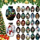 Men Women Christmas Hooded Sweatshirt Tops Jumper Pullover Novelty Xmas Costume
