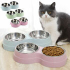 Double Bowl Dog Cat Puppy Food Water Feeder Pets Drinking Dish Stainless Steel