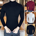 Mens Winter Warm Knitted Sweater High Turtle Neck Long Sleeve Pullover Jumper
