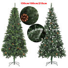Artificial Christmas Xmas Decor Tree with Pine Cones / White Glitter 5ft 6ft 7ft