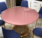 Vinyl Tablecloth Round Fitted Elastic Flannel Backed, Shiny Rose Gold 36-56 Inch