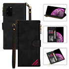 Black Newest Multi-function Zipper Wallet Card Slot Leather Phone Cover Case Bag