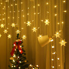 LED Window Curtain Snowflake String Fairy Lights Waterproof Christmas Decor UK.