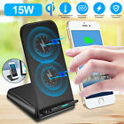 For iPhone11 Samsung Galaxy Wireless Qi Charger Stand 15W Fast Charging Dock Pad
