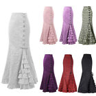 Women Ladies Victorian Style Mermaid Ruffle Skirt Steampunk Party Lace Up Skirt