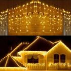 Waterproof LED Curtain Outdoor Christmas Light Droop Icicle String Garden Decor
