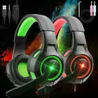 3.5mm LED Gaming Headset Mic Headphones Stereo Bass Surround for PC PS4 Xbox ONE