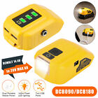 20V Dual USB Power Source For Dewalt DCB090 Max XR Lithium Battery Adapter w/LED