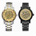 Men's Classic Steampunk Skeleton Mechanical Watch Stainless Steel Wristwatch
