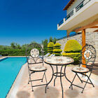 1/2/3 Pcs Mosaic Garden Table And Folding Chair Set Outdoor Dining Furniture