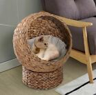 Cat Raised Bed Elevated Wicker Cave Den Removable Washable Cushion Quality Pod