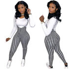 Suit houndstooth Leopard camouflage Printed Long Sleeve T-shirt suspender Pant