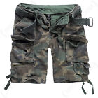 Brandit Savage Cargo Combat Camouflage Belted Shorts - Woodland - All Sizes