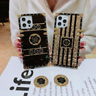 For iPhone 12 Pro Max 11 XS XR 8 7 Glitter Bling Gold Flower Square Case w/ Ring