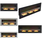 Bio Ethanol Fireplace Recessed Wall Fire Biofire Steel Glass Clean Living Room