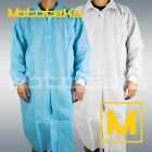 Внешний вид - 10 Pack M/L/XL/XXL Medical Dental Disposable Lab Coat Jacket Blue/White Cuff