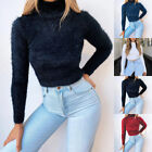 Womens Winter Warm Sweater Faux Fur Fluffy Pullover Turtleneck Plush Blouse Tops
