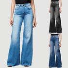 Women's Casual Flare Denim Pants High Waist Bell Bottom Lounge Jeans Trousers