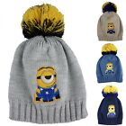 Minions Hat Stuart, Kid's Hat, Pompom Beanies Bobble Knitted Hats With 13-623