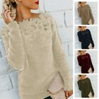 Womens Loose Fit Pullover Tops Lace Spliced Hollowed Sweater Winter Sweatshirt
