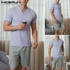 Men Short Sleeve Cotton Pajamas Set Casual Loose Nightwear Loungewear Sleep Suit