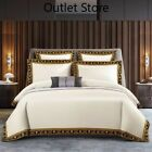 Cotton Bedlinen  Gold Bedcover Duvet Cover Comforter Pillowcase 5pcs Bedding Set
