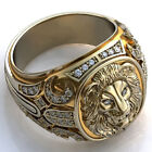 Fashion Lion 18K Gold Rings for Men White Sapphire Party Ring Jewelry Size 7-13
