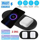 For Apple Watch iPhone 12 Pro 2 In 1 Fast Qi Wireless Charger Charging Dock Pad