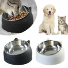 Pets Cat Stainless Steel Bowls Raised No-Slip Elevated Stand Tilted Feeder Bowl