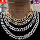 """Men Hip Hop Iced Cuban Link Diamond Chain Necklace Silver Gold Plated 18""""20""""24"""""""