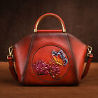 Womens Retro Genuine Leather Handbags Emboss Flower Butterfly Shoulder Shell Bag