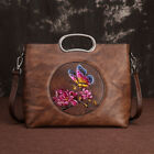 Women's Genuine Leather Vintage Handbags Shoulder Embossed Flower Butterfly Bag
