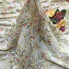 """51""""Wide Eyelet Embroidery Chiffon Fabric Multi-color Floral Printing By The Yard"""