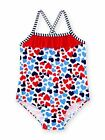 Healthtex Baby Girls Hearts One Piece Swimsuit, Red White Blue,  NEW