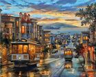 Paint By Numbers Adults kids Night Tram DIY Painting Kit 40x50CM Canvas