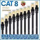 Cat 8 Ethernet RJ45 Cable 40Gbps Super Speed Patch LAN Network Gold Plated Lot