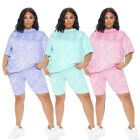New Women Plus Size Short Sleeves O Neck Patchwork Casual Jumpsuit 2pcs Summer