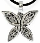 Celtic Butterfly Silver Pewter Pendant Leather Necklace