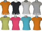 NEW WOMENS LYCRA PLAIN TOPS T- SHIRTS COTTON ALL SIZES