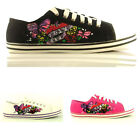 WOMENS CANVAS LADIES FLAT PUMPS TRAINERS SHOES SIZE 3-8