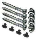 4no. MIRROR SCREWS WITH RUBBER GROMMETS & DOME CAPS.    (5 SIZES TO SELECT FROM)