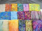 "UNIQUE Embroidered jewel tone Batik fabric 100% cotton 1/2 yd long x 44"" wide"