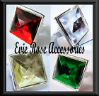 NEW OVERSIZE FACETED SQUARE JEWEL SILVER STATEMENT RING