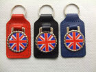 UNION JACK FLAG LEATHER KEYRING KEY FOB AVAILABLE IN RED, BLACK OR BLUE