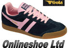 NEW WOMENS GIRLS GOLA CLASSICS HARRIER BRIGHT NAVY / PINK  FLAT TRAINERS