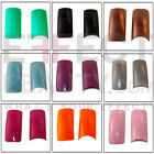 SALE ALL £1! 100 Coloured Acrylic Nail Tips & Tip Box 14 Stunning Colours