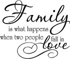 Family Is What Happens When Two People Fall In Love Vinyl Decal Sticker Letters
