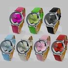 Sweet Heart PU Leathr Quartz Lady Women Wrist Watch New Design